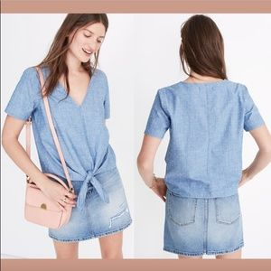 NWD $68 Madewell Chambray Novel Tie-Front Top Blue